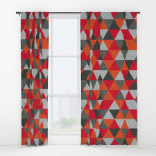Gray And Red Curtains Hipster Window Curtains Society6