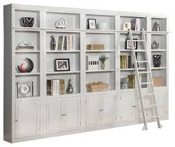 White Cottage Bookcase by Parker House Boca Inset Library Wall Bookcase In Cottage White