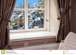 Winter Window Curtains Window With Curtains In Winter Stock Image Image Of Luxury Cosy