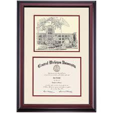 of michigan diploma frame central michigan premier warriner pen and ink diploma frame