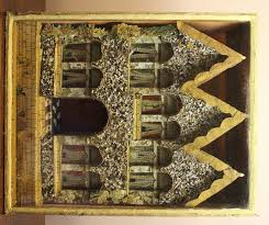 naive victorian folk art diorama of a house in from hand of glory