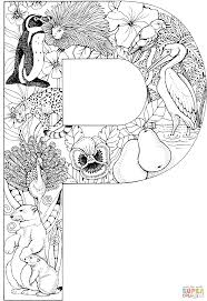 letter p with animals coloring page free printable coloring pages