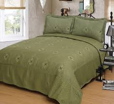 mk collection olive green 3pc bedspread coverlet embroidery quilt