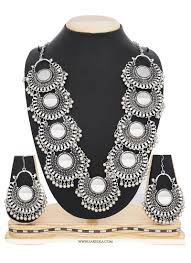 silver necklace sets images Stone work silver necklace set buy online jpg