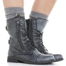 womens grey combat boots fashion boots