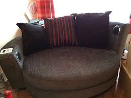 Black Fabric Chesterfield Sofa by Sofa Part Fabric Part Leathery 3 Seater And Snuggle Chair With