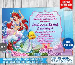 little mermaid birthday invitation 2 by templatemansion on deviantart