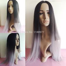 best shoo for gray hair for women women wig silk straight gray synthetic wig glueless ombre tone