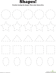 trace and color shapes color shapes worksheets and printables