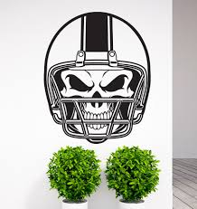 removable american football nfl helmet skull vinyl wall decal art