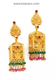 gold jhumka earrings temple jewellery gold jhumkas 22k gold dangle earrings gjh807