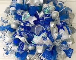 blue silver wreath etsy
