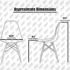Amazoncom Xhome White Eames Style Side Chair Natural Wood - Dining room chair height
