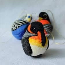 european goldfinch needle felted bird wool ornament made by