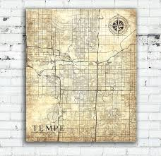 Map Of Tempe Arizona by Tempe Az Canvas Print Arizona Az Vintage Map Tempe Arizona
