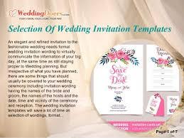 Wedding Invitation Sample Selection Of Wedding Invitation Templates