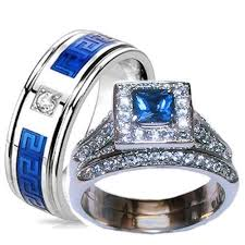 stainless steel wedding ring sets his hers halo sapphire blue clear cz wedding ring set