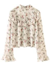 frilly blouse chiffon floral print frilly blouse pink blouses l zaful