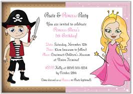 princess and pirate birthday party invitations princess and