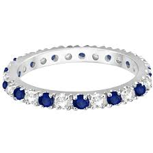 band ring diamond blue sapphire eternity band ring guard 14k white gold 0 51ct