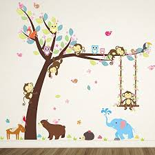 stikers chambre bebe elecmotive animaux autocollants muraux mural stickers chambre