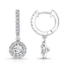 white gold drop earrings 14k white gold diamond halo fashion drop earrings wedding day diamonds