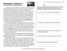 stalagmite stalactite 5th grade reading comprehension worksheet