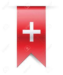 Flag White With Red Cross Switzerland Flag Banner Illustration Design Over A White