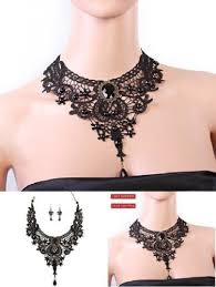 black gothic choker necklace images Black diamond pendant lace necklace earrings women set jewelry