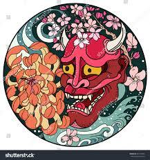 hand drawn asian tattoo designoni mask stock vector 640110862