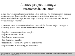 collection of solutions recommendation letters for finance manager