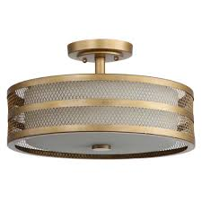 Safavieh Great Veil 3 Light Antique Gold Semi Flush Mount Light