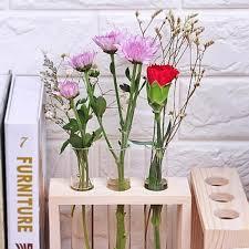 Test Tube Flower Vases Amazon Com Magideal Crystal Glass Test Tube Vase In Wooden Stand