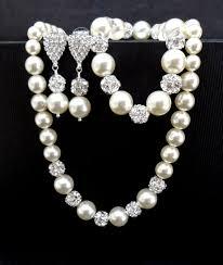 pearl bracelet set images Bridal pearl jewelry set swarovski pearls and rhinestones jpg