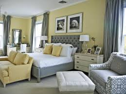 simple yellow and gray bedroom design with nice small light gray
