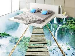 3d flooring custom 3d floor waterfall adventure rope wooden bridge 3d