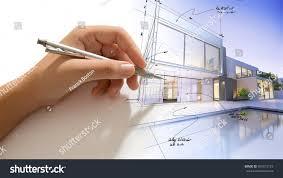 hand drafting design villa building becoming stock illustration