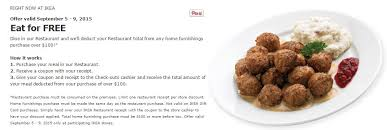 ikea sav cuisine eat for free at ikea with your purchase of 100 or more
