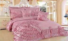 Ruffled Bed Set Dusty Pink Bedding Set With Floral And Ruffle Ornaments Placed On