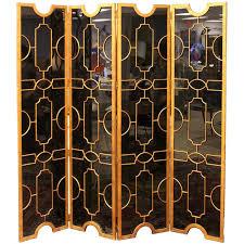 Screen Room Divider Regency Deco Black Glass Bronze Folding Screen Room