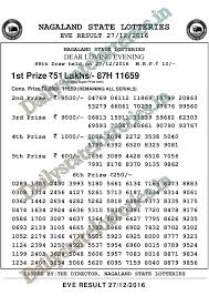 27 12 2016 nagaland evening lottery 8pm result 27th december 2016