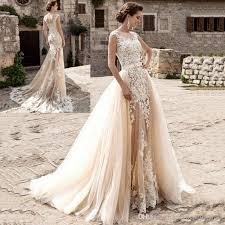sleeveless wedding dress 2017 chagne mermaid wedding dresses sheer neck sleeveless