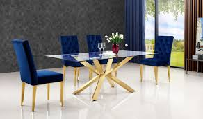 gold dining table set 716 capri dining room set in rich gold navy by meridian furniture