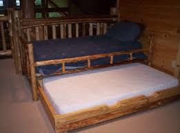 bedroom rustic lacquered tree trunk daybed with white mattress