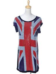 White Blue Orange Flag Anna Kaci S M Fit Black Red White Blue Square Sequins British