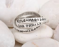 day rings personalized unique mothers rings interlocking rings sted name ring for