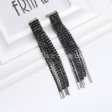 silver dangle earrings for prom silver black rhinestone tassel dangle earrings