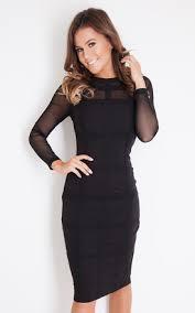 bodycon dress grid sleeve bodycon dress black silkfred