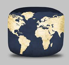 Beanbag Ottoman World Map Round Pouf Ottoman In Navy Blue Project Cottage