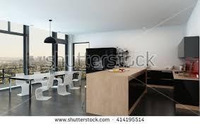 modern openplan kitchen dining room interior stock illustration